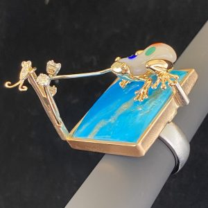 .38 ctw,Diamond One Of A Kind,Ring,48.0 ct,Turquoise,Platinum,14k,Gold